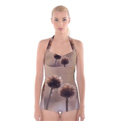 Withered Globe Thistle In Autumn Macro Boyleg Halter Swimsuit