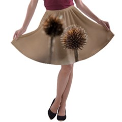 Withered Globe Thistle In Autumn Macro A Line Skater Skirt