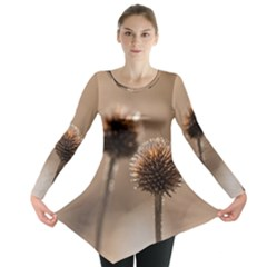 Withered Globe Thistle In Autumn Macro Long Sleeve Tunic  by wsfcow