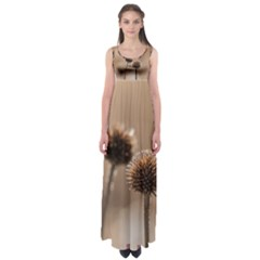 Withered Globe Thistle In Autumn Macro Empire Waist Maxi Dress by wsfcow