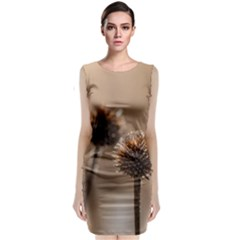 Withered Globe Thistle In Autumn Macro Classic Sleeveless Midi Dress