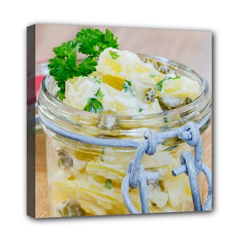 Potato Salad In A Jar On Wooden Mini Canvas 8  X 8  by wsfcow