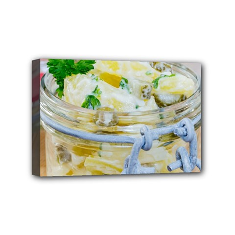 Potato Salad In A Jar On Wooden Mini Canvas 6  X 4