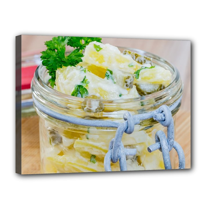 Potato salad in a jar on wooden Canvas 16  x 12