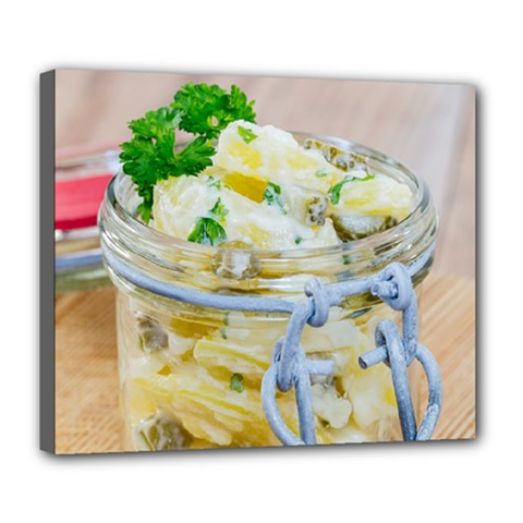 Potato Salad In A Jar On Wooden Deluxe Canvas 24  X 20   by wsfcow