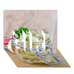 Potato Salad In A Jar On Wooden Girl 3d Greeting Card (7x5) by wsfcow