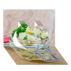 Potato Salad In A Jar On Wooden Heart 3d Greeting Card (7x5) by wsfcow