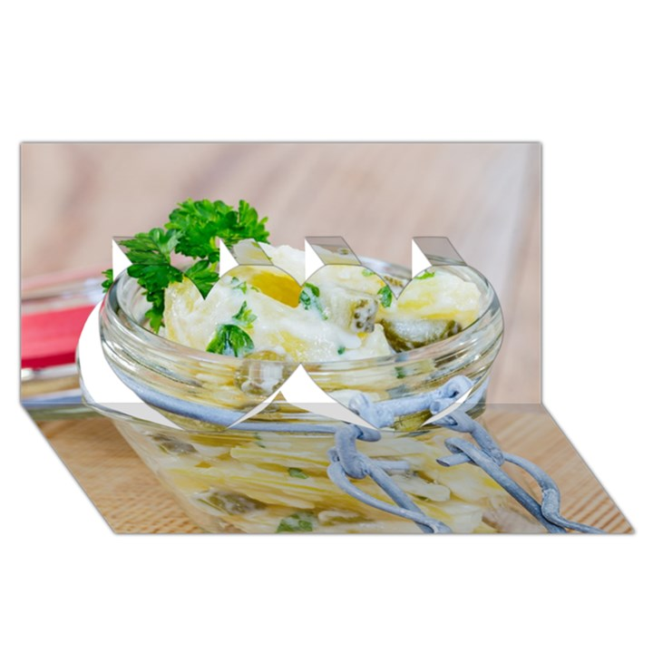 Potato salad in a jar on wooden Twin Hearts 3D Greeting Card (8x4)