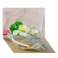 Potato Salad In A Jar On Wooden Heart Bottom 3d Greeting Card (7x5) by wsfcow