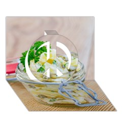 Potato Salad In A Jar On Wooden Peace Sign 3d Greeting Card (7x5)