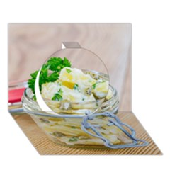 Potato Salad In A Jar On Wooden Circle 3d Greeting Card (7x5)