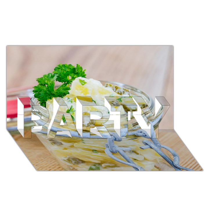 Potato salad in a jar on wooden PARTY 3D Greeting Card (8x4)