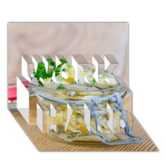 Potato Salad In A Jar On Wooden Work Hard 3d Greeting Card (7x5) by wsfcow