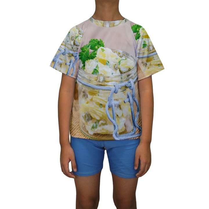 Potato salad in a jar on wooden Kids  Short Sleeve Swimwear