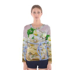 Potato Salad In A Jar On Wooden Women s Long Sleeve Tee