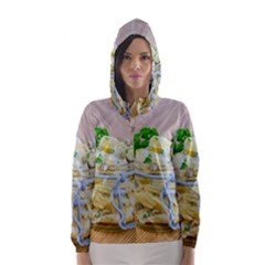 Potato salad in a jar on wooden Hooded Wind Breaker (Women)