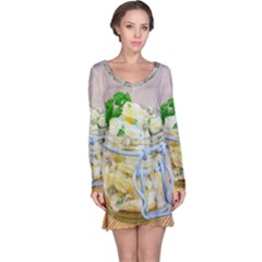 Potato Salad In A Jar On Wooden Long Sleeve Nightdress by wsfcow