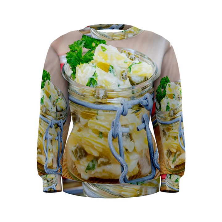 Potato salad in a jar on wooden Women s Sweatshirt