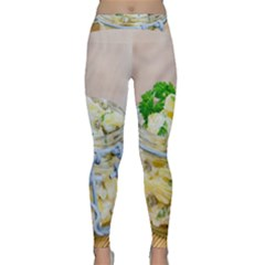 Potato Salad In A Jar On Wooden Yoga Leggings  by wsfcow