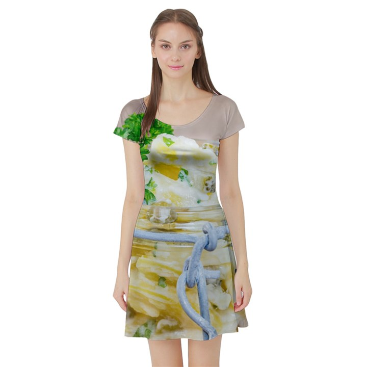 Potato salad in a jar on wooden Short Sleeve Skater Dress