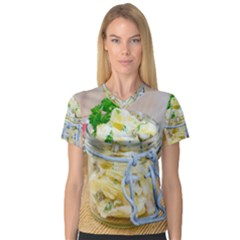 Potato Salad In A Jar On Wooden Women s V Neck Sport Mesh Tee