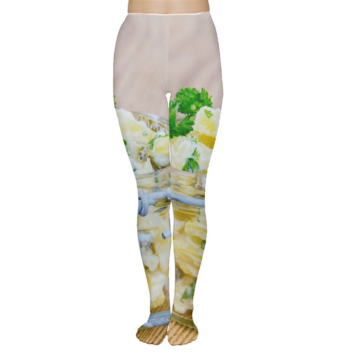 Potato salad in a jar on wooden Women s Tights