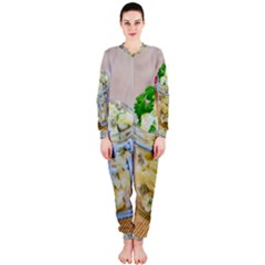 Potato Salad In A Jar On Wooden Onepiece Jumpsuit (ladies)