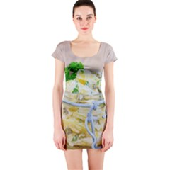 Potato salad in a jar on wooden Short Sleeve Bodycon Dress