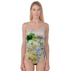 Potato salad in a jar on wooden Camisole Leotard