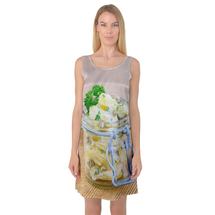 Potato salad in a jar on wooden Sleeveless Satin Nightdress