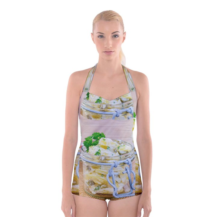Potato salad in a jar on wooden Boyleg Halter Swimsuit