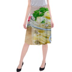 Potato Salad In A Jar On Wooden Midi Beach Skirt by wsfcow