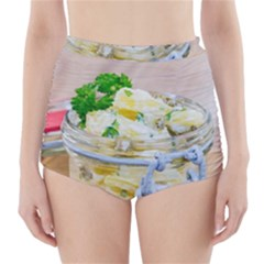 Potato Salad In A Jar On Wooden High Waisted Bikini Bottoms