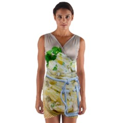 Potato Salad In A Jar On Wooden Wrap Front Bodycon Dress