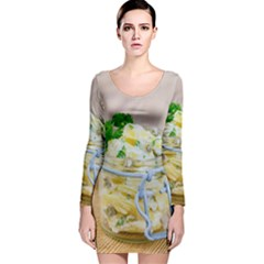 Potato salad in a jar on wooden Long Sleeve Velvet Bodycon Dress