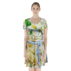Potato Salad In A Jar On Wooden Short Sleeve V Neck Flare Dress by wsfcow