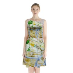 Potato salad in a jar on wooden Sleeveless Chiffon Waist Tie Dress