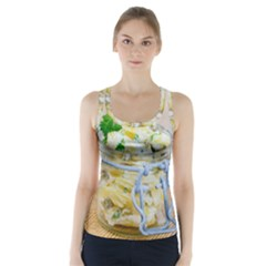 Potato salad in a jar on wooden Racer Back Sports Top
