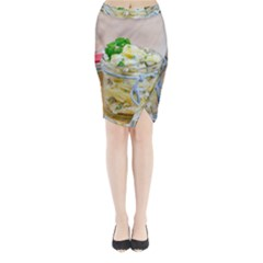 Potato Salad In A Jar On Wooden Midi Wrap Pencil Skirt by wsfcow