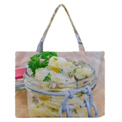 Potato salad in a jar on wooden Medium Zipper Tote Bag