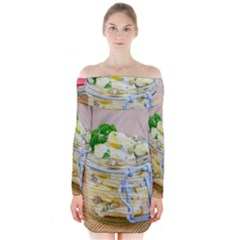 Potato Salad In A Jar On Wooden Long Sleeve Off Shoulder Dress by wsfcow