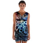 Pierce The Veil Quote Galaxy Nebula Wrap Front Bodycon Dress