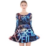 Pierce The Veil Quote Galaxy Nebula Long Sleeve Velvet Skater Dress