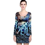 Pierce The Veil Quote Galaxy Nebula Long Sleeve Velvet Bodycon Dress