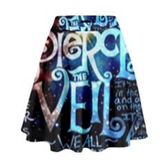 Pierce The Veil Quote Galaxy Nebula High Waist Skirt by Onesevenart