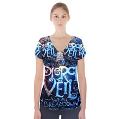 Pierce The Veil Quote Galaxy Nebula Short Sleeve Front Detail Top by Onesevenart