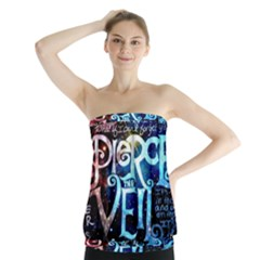 Pierce The Veil Quote Galaxy Nebula Strapless Top by Onesevenart