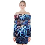 Pierce The Veil Quote Galaxy Nebula Long Sleeve Off Shoulder Dress
