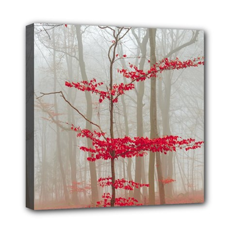 Magic Forest In Red And White Mini Canvas 8  X 8  by wsfcow