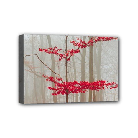 Magic Forest In Red And White Mini Canvas 6  X 4  by wsfcow